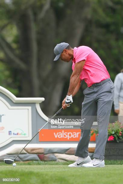 Tiger Woods tees off the 9th hole during the third round of the Valspar Championship on March 10 at Westin Innisbrook-Copperhead Course in Palm...