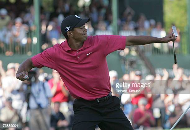 Tiger Woods throws his ball to the crowd after winning the 2007 Wachovia Championship held at Quail Hollow Country Club in Charlotte North Carolina...