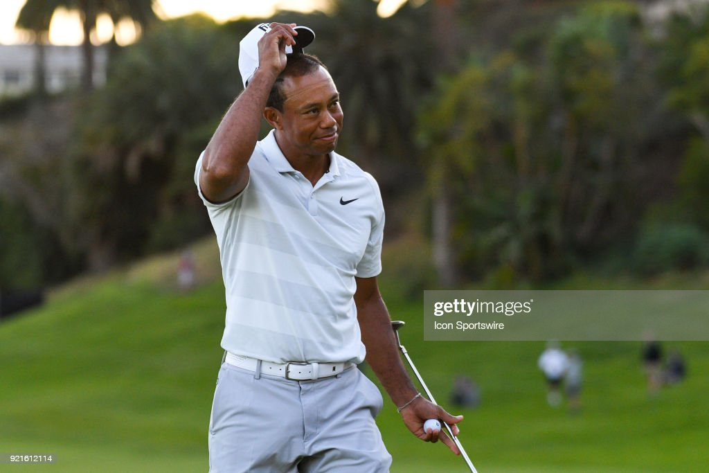 Tiger Woods tips his cap after finishing the second round of the Genesis Open golf tournament at the Riviera Country Club in Pacific Palisades, CA on February 16, 2018.