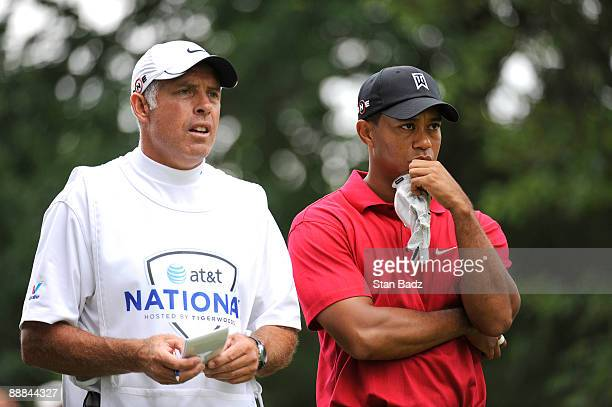 Tiger Woods waits for play at the seventh tee box during the final round of the AT&T National at Congressional Country Club on July 5, 2009 in...