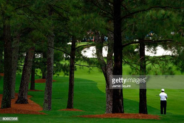 Tiger Woods waits on the seventh hole during the third round of the 2008 Masters Tournament at Augusta National Golf Club on April 12, 2008 in...