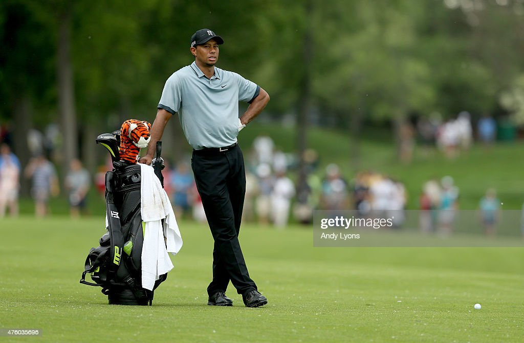 Tiger Woods waits to hit his second shot on the 15th hole during the second round of The Memorial Tournament presented by Nationwide at Muirfield Village Golf Club on June 5, 2015 in Dublin, Ohio.
