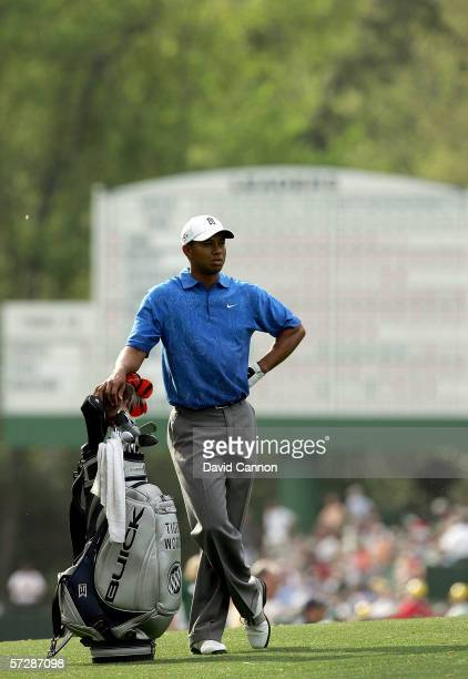 Tiger Woods waits to hit his second shot to the 14th hole during the second round of The Masters at the Augusta National Golf Club on April 7 2006 in...