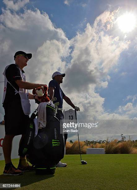 Tiger Woods waits to play the 13th hole during the second round of the Hero World Challenge at Albany course on December 2 2016 in Nassau Bahamas
