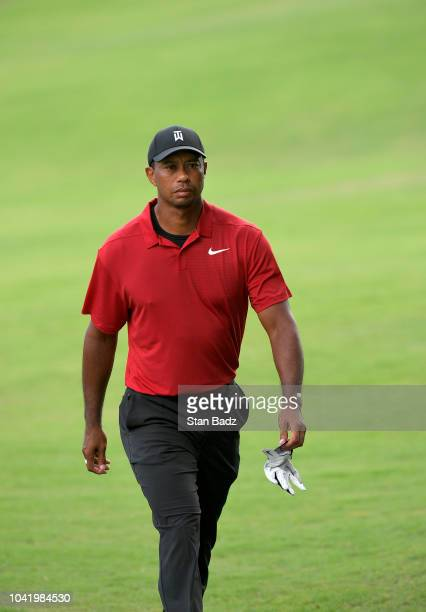 Tiger Woods walks along the 17th hole during the final round of the TOUR Championship at East Lake Golf Club on September 23 in Atlanta Georgia