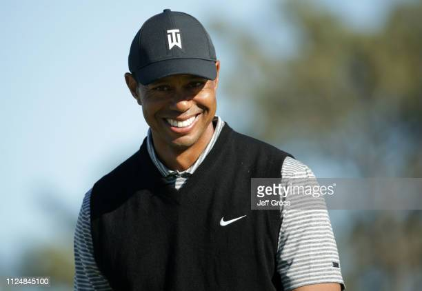Tiger Woods walks along the fairway on the North Course during the second round of the 2019 Farmers Insurance Open at Torrey Pines Golf Course on...