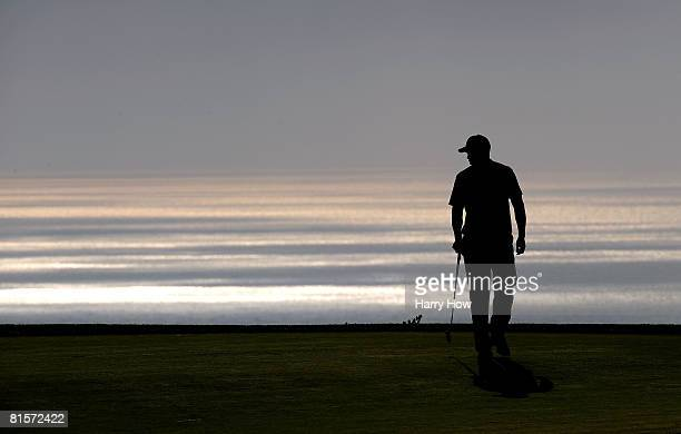 Tiger Woods walks off the 14th hole during the third round of the 108th US Open at the Torrey Pines Golf Course on June 14 2008 in San Diego...