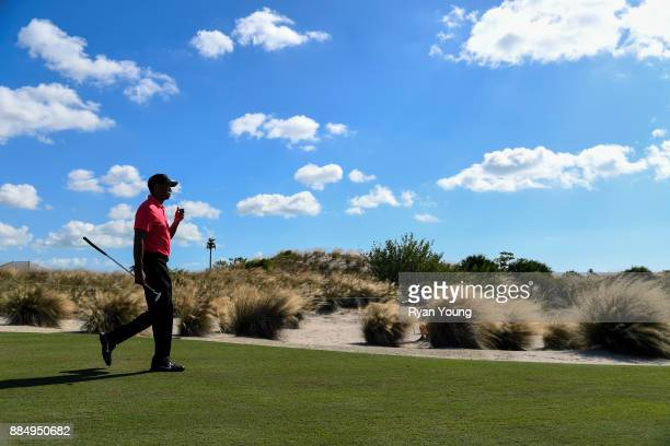 Tiger Woods walks to his next shot during the final round of the Hero World Challenge at Albany course on December 3 2017 in Nassau Bahamas