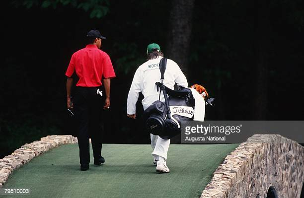 Tiger Woods Walks To The 12th Hole With Mike Cowan During The 1997 Masters Tournament