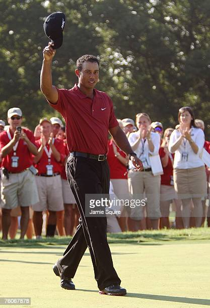 Tiger Woods walks to the award ceremony after his twostroke victory at the 89th PGA Championship at the Southern Hills Country Club on August 12 2007...
