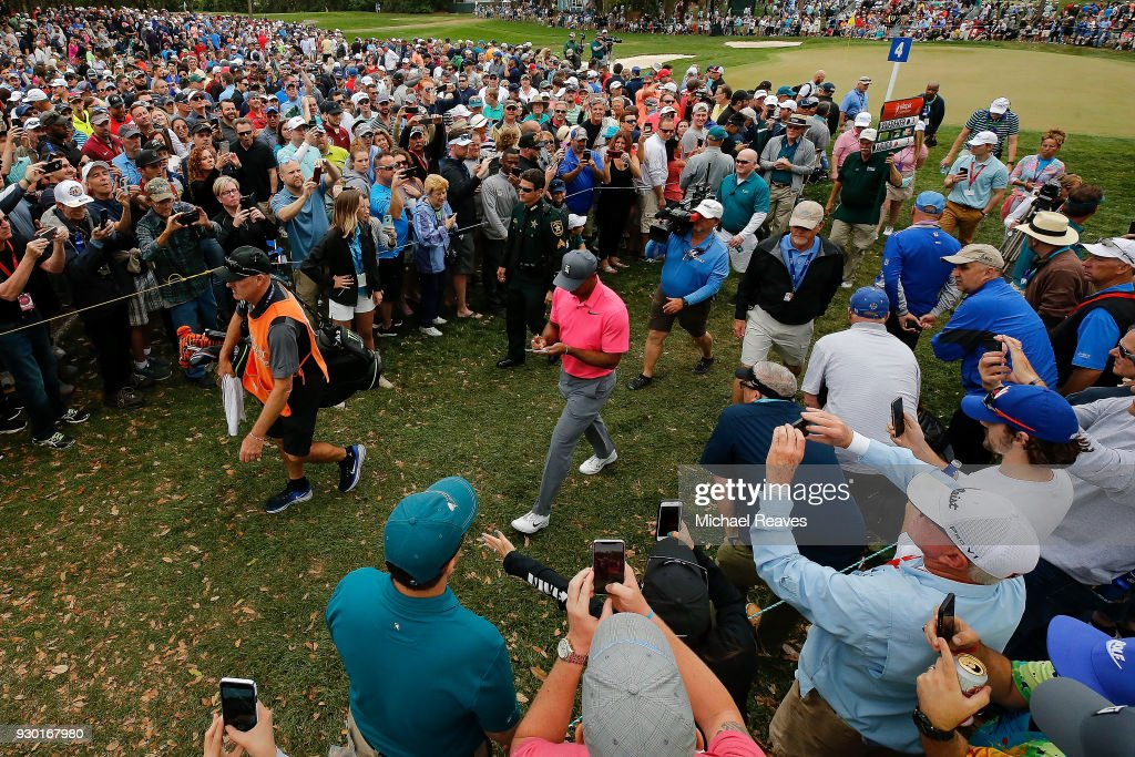Tiger Woods walks to the fifth tee box during the third round of the Valspar Championship at Innisbrook Resort Copperhead Course on March 10, 2018 in Palm Harbor, Florida.