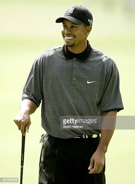 Tiger Woods walks up the 18th fairway during the proam prior to the start of the Nissan Open on February 16 2005 at in Pacific Palisades California