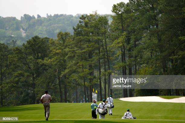 Tiger Woods walks up the third hole during the first round of the 2008 Masters Tournament at Augusta National Golf Club on April 10 2008 in Augusta...