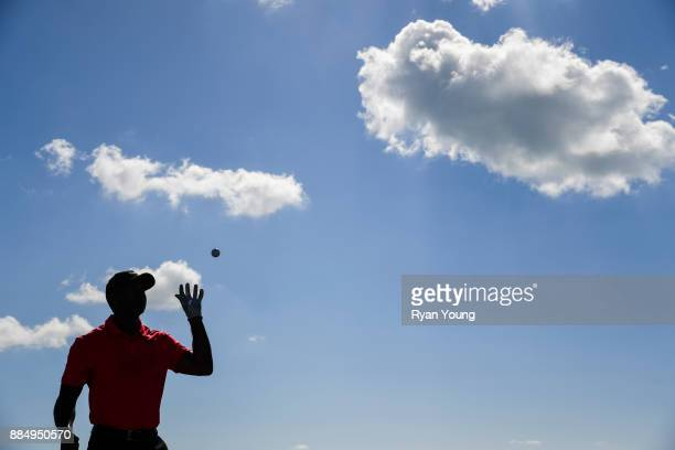Tiger Woods warms up on the range during the final round of the Hero World Challenge at Albany course on December 3 2017 in Nassau Bahamas