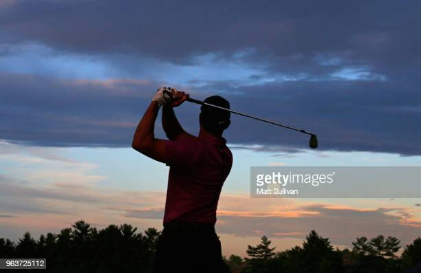Tiger Woods warms up on the range prior to the ProAm prior to The Memorial Tournament presented by Nationwide at Muirfield Village Golf Club on May...