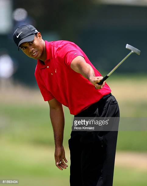 Tiger Woods watches a putt on the 12th hole during the playoff round of the 108th US Open at the Torrey Pines Golf Course on June 16 2008 in San...