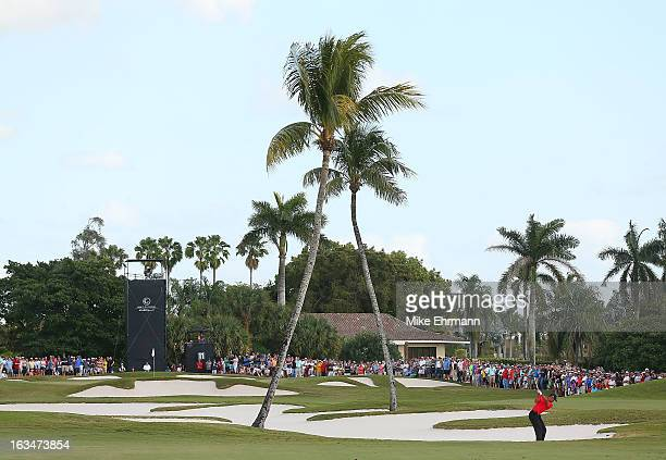 Tiger Woods watches his approach shot on the 11th hole during the final round of the World Golf ChampionshipsCadillac Championship at the Trump Doral...