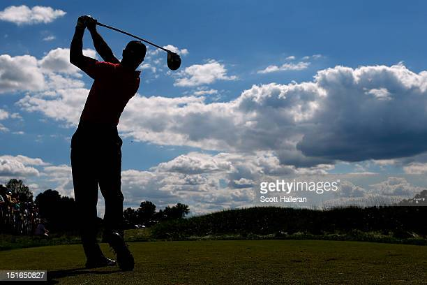 Tiger Woods watches his tee shot on the 10th hole during the final round of the BMW Championship at Crooked Stick Golf Club on September 9, 2012 in...