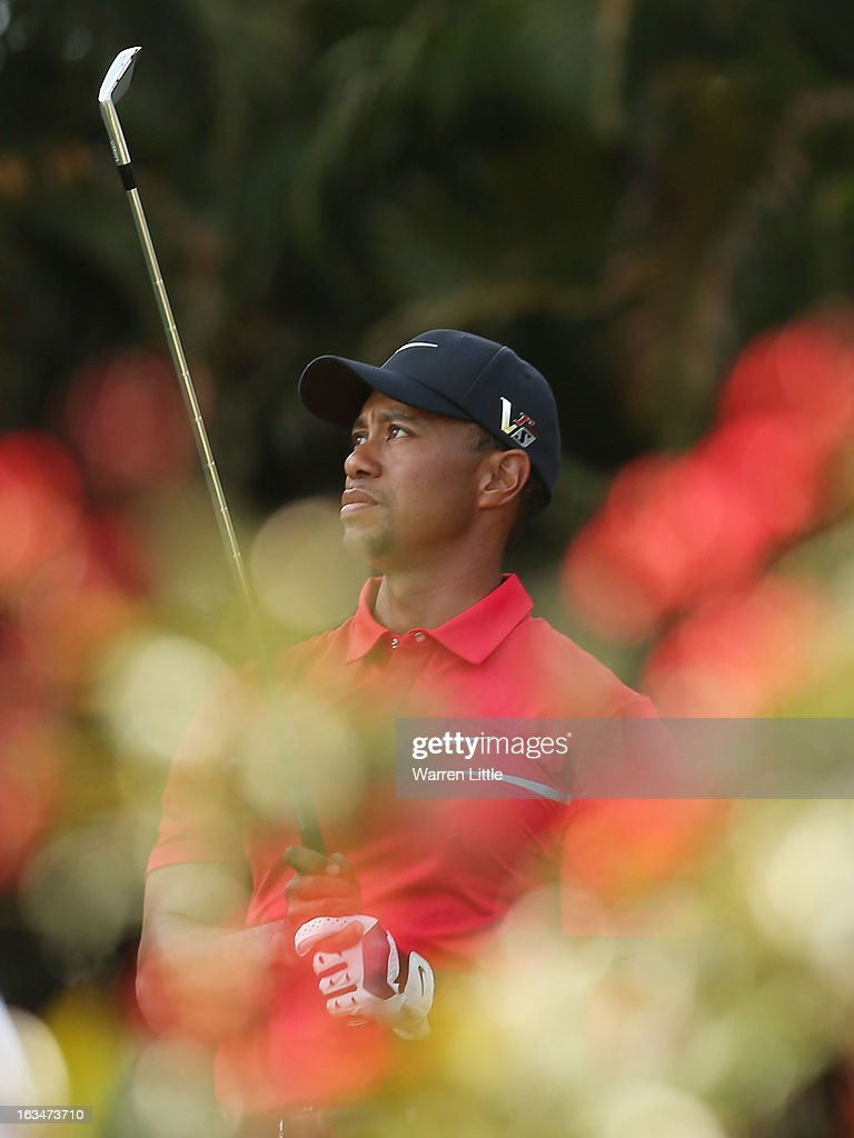 Tiger Woods watches his tee shot on the 15th hole during the final round of the World Golf Championships-Cadillac Championship at the Trump Doral Golf Resort & Spa on March 10, 2013 in Doral, Florida.