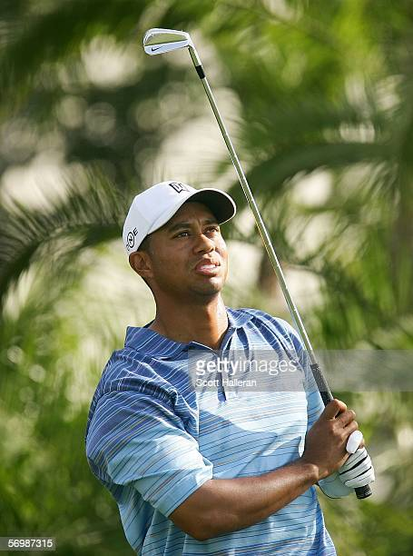 Tiger Woods watches his tee shot on the 15th hole during the second round of the Ford Championship at the Doral Golf Resort and Spa on March 3, 2006...