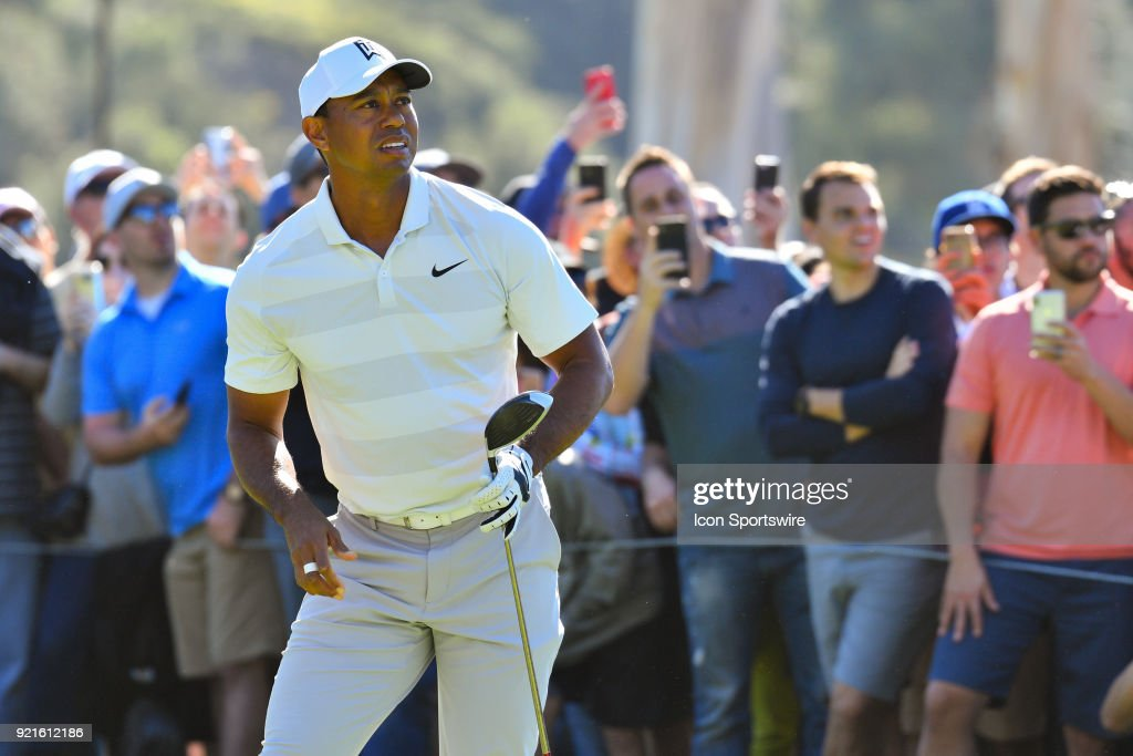 Tiger Woods watches his tee shot on the 9th hole during the second round of the Genesis Open golf tournament at the Riviera Country Club in Pacific Palisades, CA on February 16, 2018.