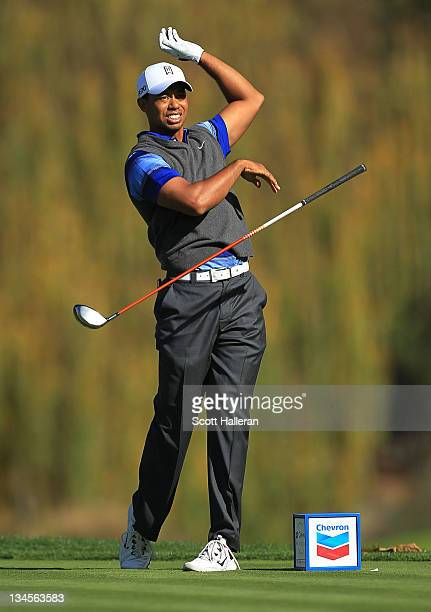 Tiger Woods watches his tee shot on the fifth hole during the second round of the Chevron World Challenge at Sherwood Country Club on December 2,...