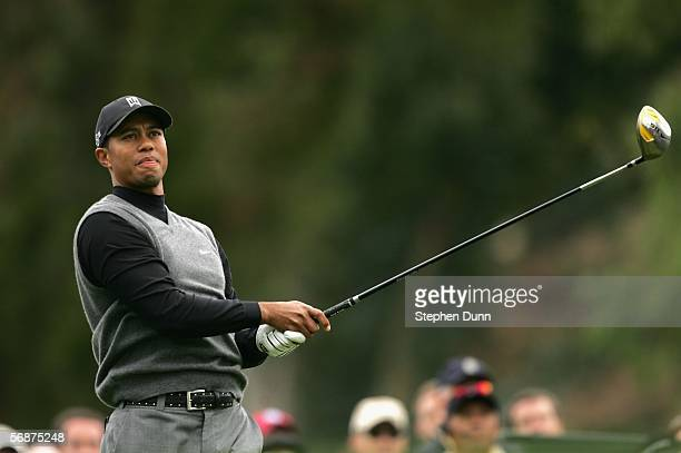 Tiger Woods watches his tee shot on the second hole during the second round of the Nissan Open February 17 2006 at the Riviera Country Club in...