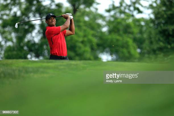Tiger Woods watches his tee shot on the third hole during the final round of The Memorial Tournament Presented by Nationwide at Muirfield Village...