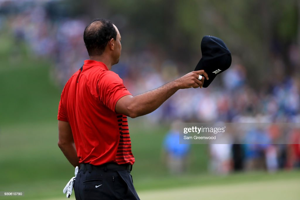Tiger Woods waves to the crowd after completeing his final round of the Valspar Championship at Innisbrook Resort Copperhead Course on March 11, 2018 in Palm Harbor, Florida.