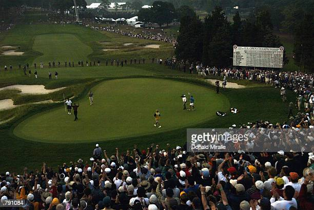 Tiger Woods wins the 102nd US Open on the Black Course at Bethpage State Park in Farmingdale New York on June 16 2002