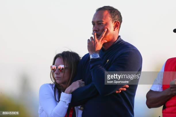 Tiger Woods with girlfriend Erica Herman after the Presidents Cup on October 1 at Liberty National Golf Clubin Jersey City NJ