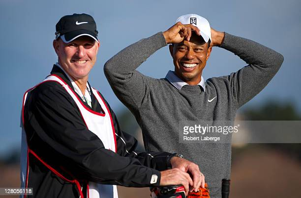 Tiger Woods with his new caddie Joe LaCava during the Pro Am of the Fryscom Open at the CordeValle Golf Club on October 5 2011 in San Martin...