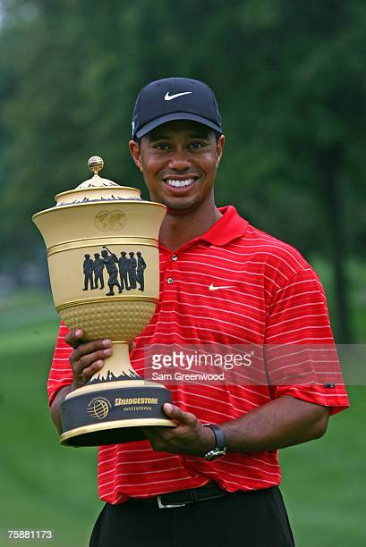 Tiger Woods with the Gary Player Cup after winning the 2006 WGC-Bridgestone Invitational held on the South Course at Firestone Country Club in Akron,...