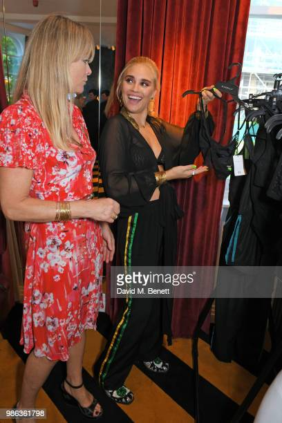 Tigerlily Taylor and mother Debbie Leng attend Tigerlily Taylor's all girls Bluebella lingerie party at Laylow on June 28 2018 in London England