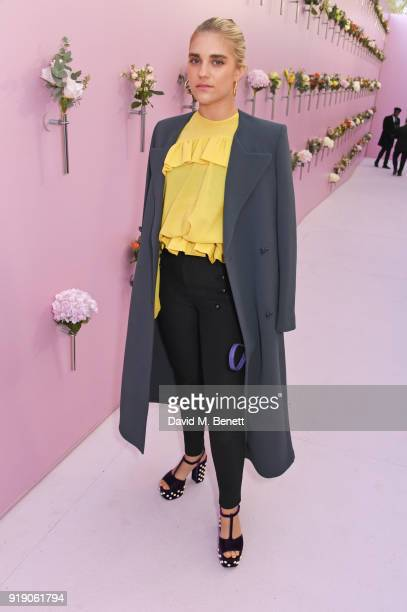Tigerlily Taylor attends the Mulberry 'Beyond Heritage' SS18 Presentation during London Fashion Week February 2018 at Spencer House on February 16...