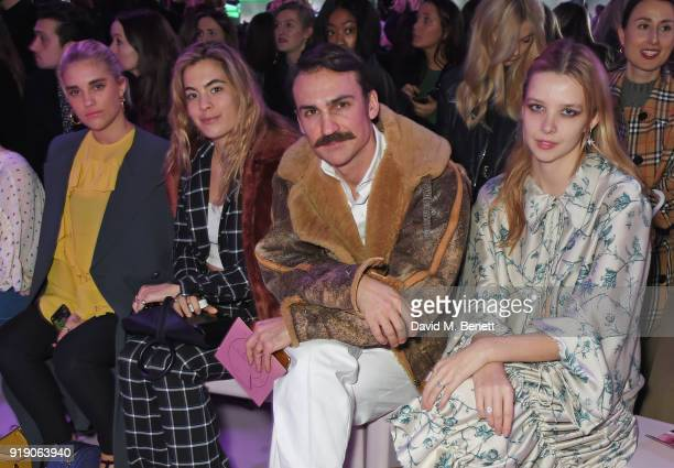 Tigerlily Taylor Chelsea Leyland Henry LloydHughes and Greta Bellamacina attend the Mulberry 'Beyond Heritage' SS18 Presentation during London...