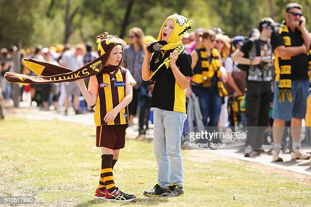 Tigers and Hawks fans wait to enter during the 2016 AFL NAB Challenge match between the Richmond Tigers and the Hawthorn Hawks at Holm Recreation...