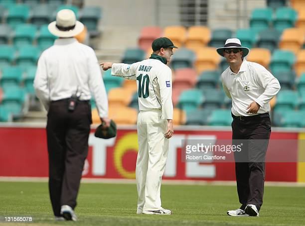 Tigers captain George Bailey argues with the umpire after an appeal against David Hussey of the Bushrangers was turned down during day three of the...