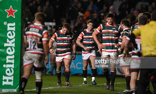 Tigers captain Tom Youngs and team mates reacts after the fourth Glasgow try during the European Rugby Champions Cup match between Leicester Tigers...
