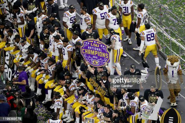 Tigers celebrates after defeating the Clemson Tigers 4225 in the College Football Playoff National Championship game at Mercedes Benz Superdome on...