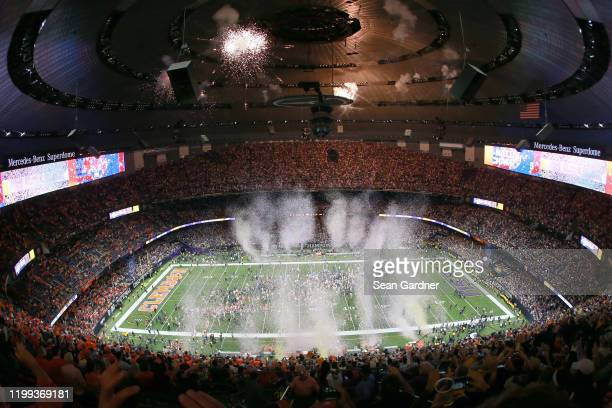 Tigers celebrates after defeating the Clemson Tigers 42-25 in the College Football Playoff National Championship game at Mercedes Benz Superdome on...