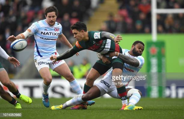 Tigers centre Matt Toomua is tackled by Virimi Vakatawa of Racing during the Champions Cup match between Leicester Tigers and Racing 92 at Welford...