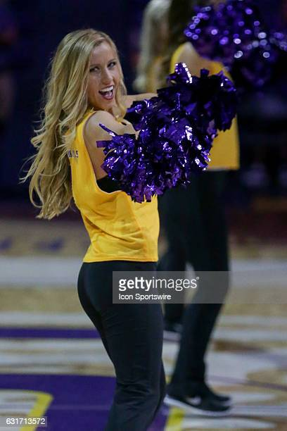 Tigers cheerleader entertaining the crowd during the game between Alabama and LSU on January 14 2017 at Pete Maravich Assembly Center in Baton Rouge...