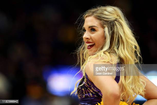 Tigers cheerleader perfoms during a game against the Texas AM Aggies at Pete Maravich Assembly Center on February 26 2019 in Baton Rouge Louisiana