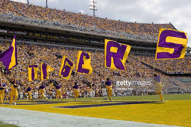 Tigers cheerleaders before a game against the Mississippi State Bulldogs at Tiger Stadium on September 30, 2006 in Baton Rouge, Louisiana. LSU won...