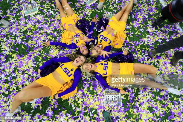 Tigers cheerleaders celebrate their 4225 win over the Clemson Tigers in the College Football Playoff National Championship game at Mercedes Benz...