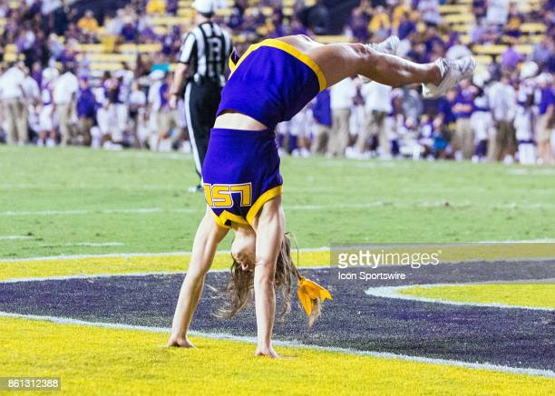Tigers cheerleaders entertain the crowd during a football game between the LSU Tigers and Troy Trojans at Tiger Stadium in Baton Rouge Louisiana on...
