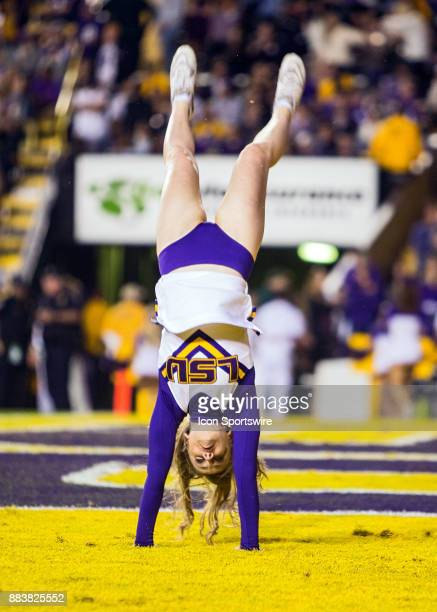 Tigers cheerleaders entertain the crowd during a game between the Texas AM Aggies and the LSU Tigers on November 25 2017 at Tiger Stadium in Baton...