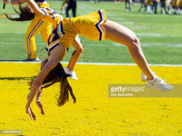 Tigers cheerleaders entertain the crowd during a game between the LSU Tigers and the Georgia Bulldogs on October 13 at Tiger Stadium in Baton Rouge...