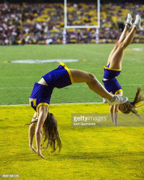Tigers cheerleaders entertain the crowd during a game between the LSU Tigers and Troy Trojans at Tiger Stadium in Baton Rouge Louisiana on September...